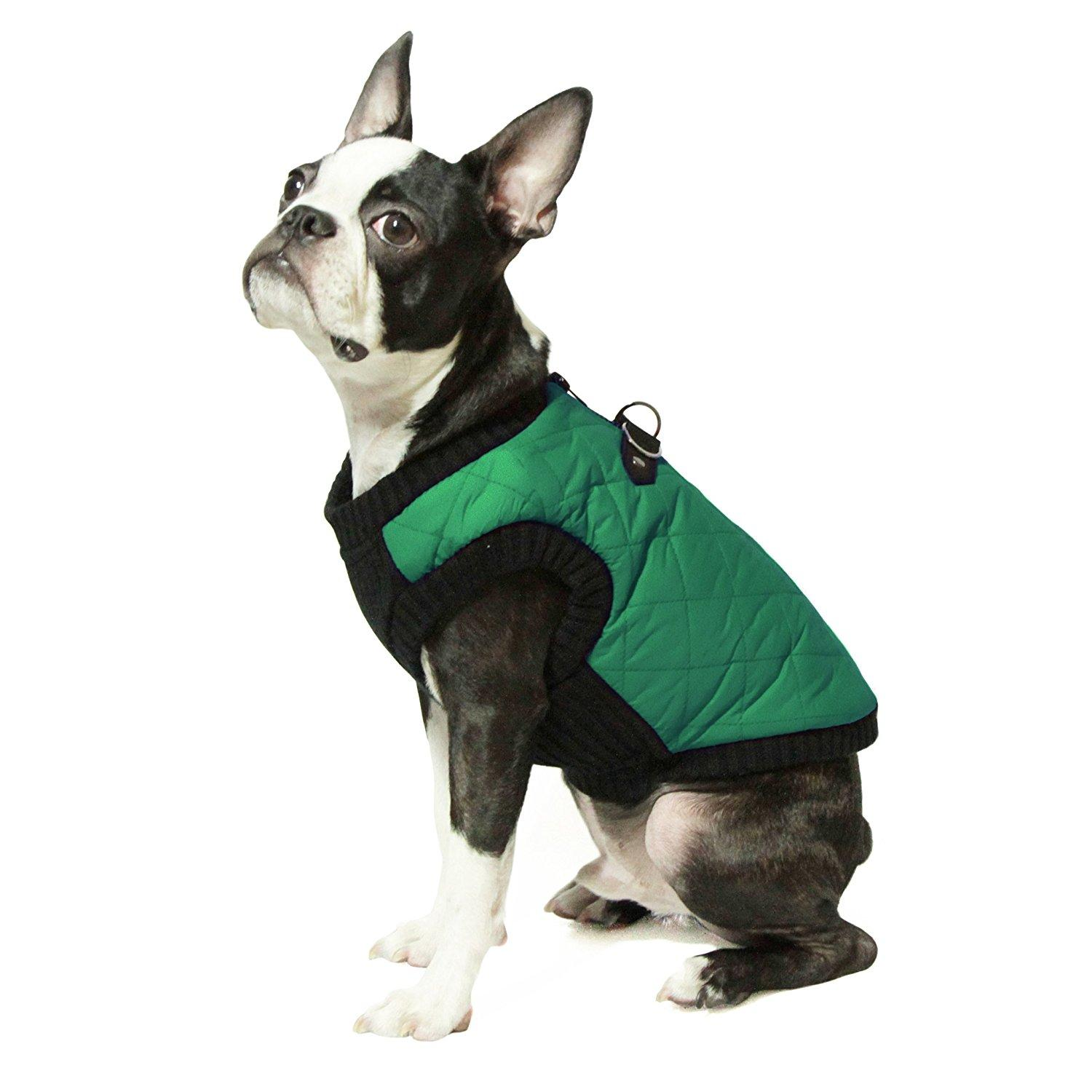 Gooby Fashion Quilted Dog Vest - Green
