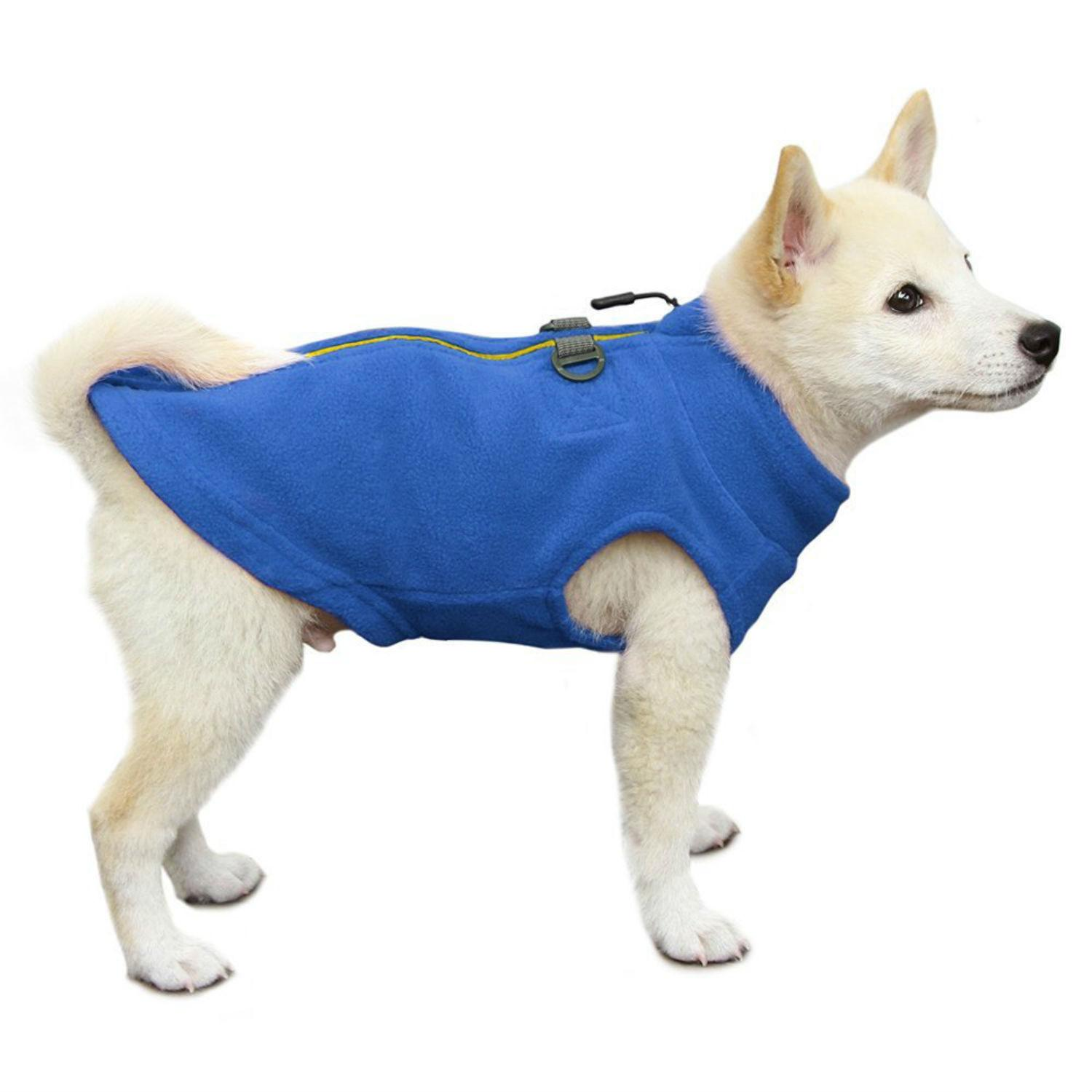 Gooby Zip Up Fleece Dog Vest - Blue
