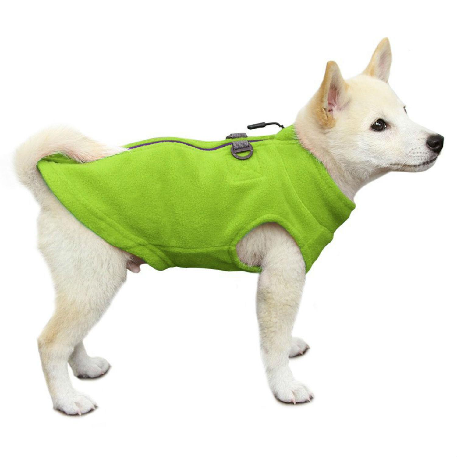 Gooby Zip Up Fleece Dog Vest - Lime