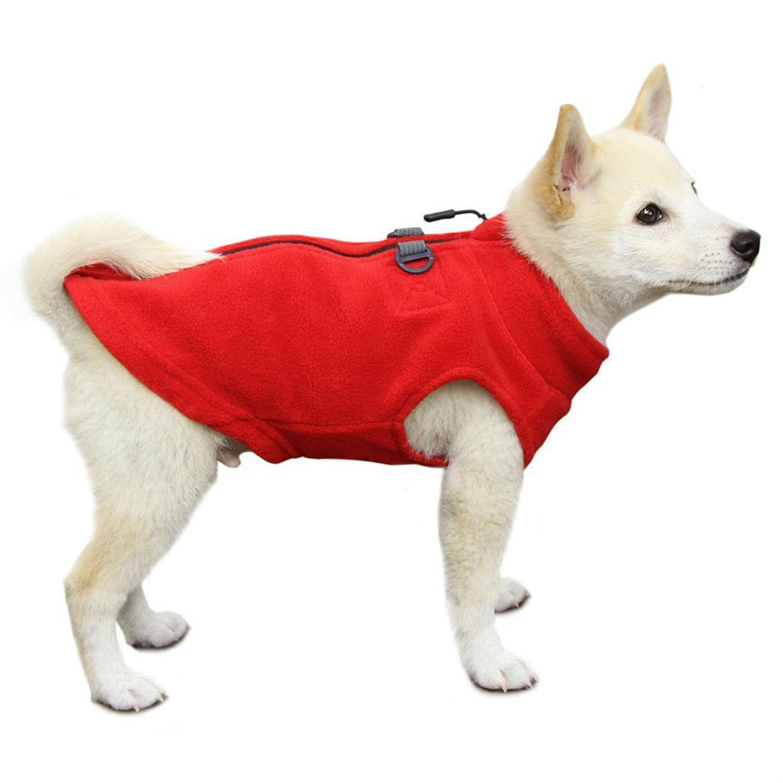 Gooby Zip Up Fleece Dog Vest - Red