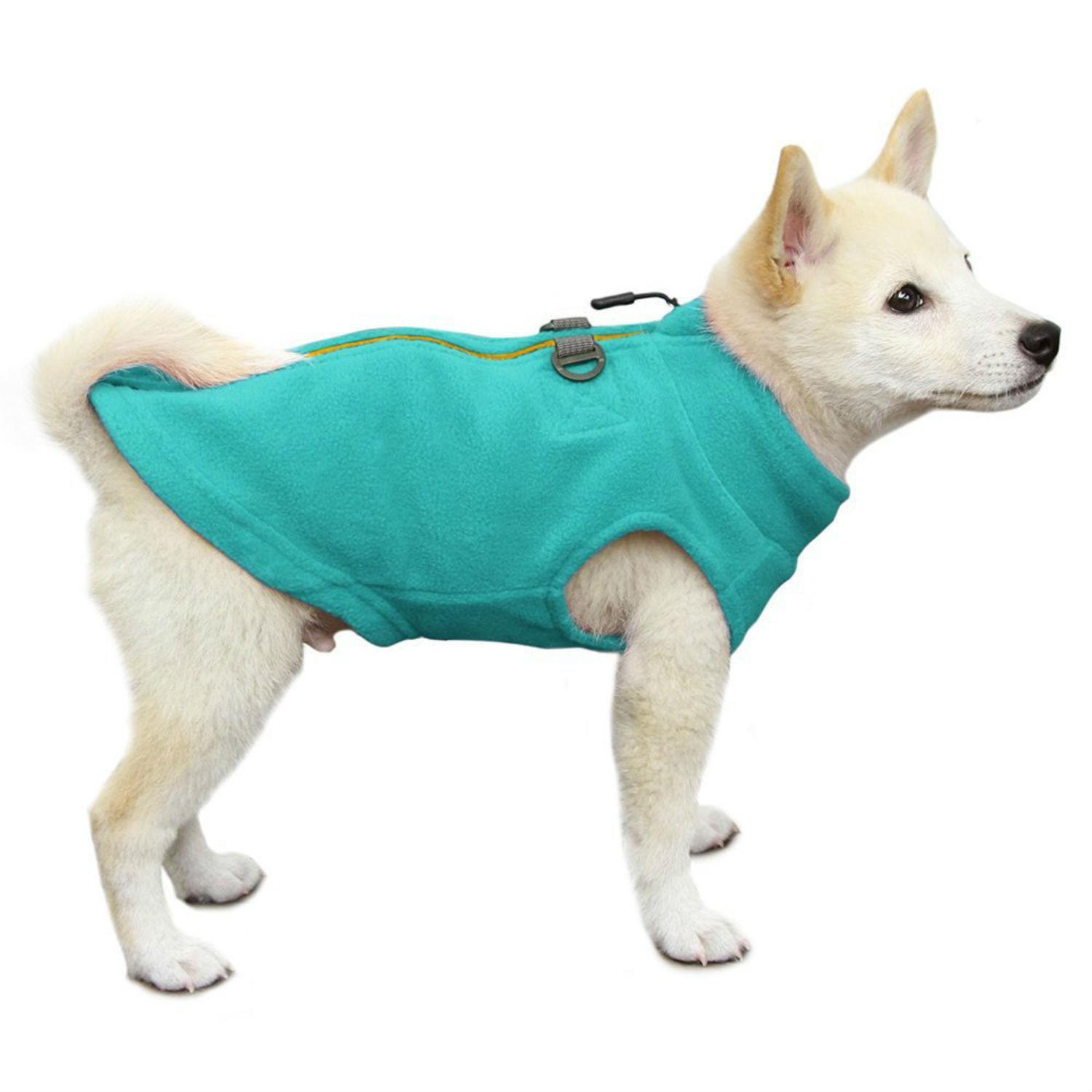 Gooby Zip Up Fleece Dog Vest - Turquoise