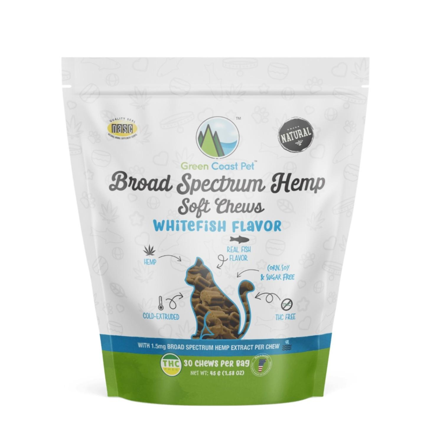 Green Coast Pet Broad Spectrum Hemp Cat Soft Chews - Whitefish