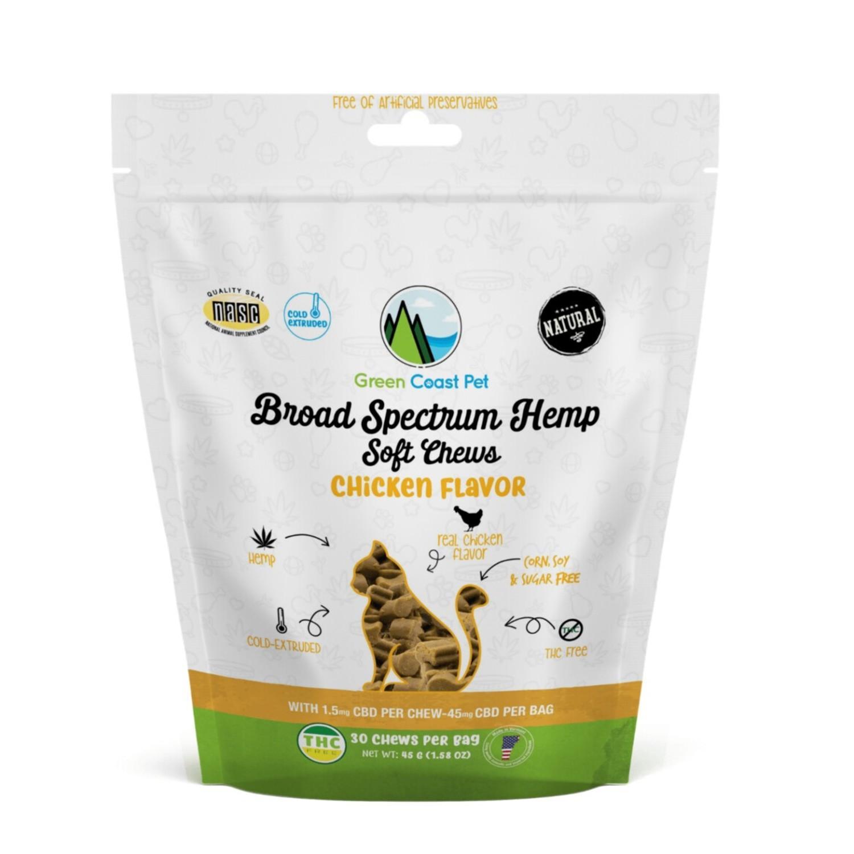 Green Coast Pet Broad Spectrum Hemp Cat Soft Chews - Chicken
