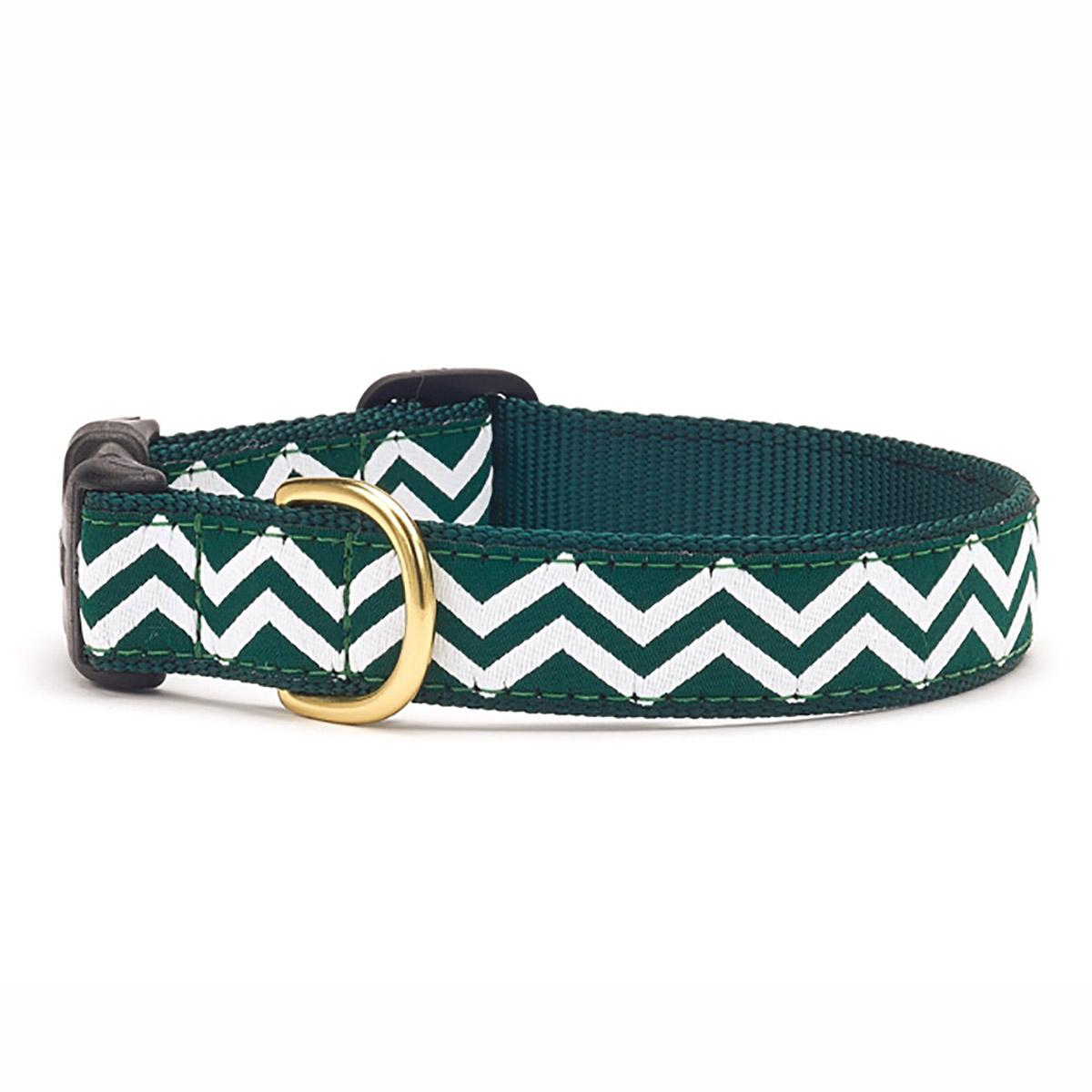 Green and White Chevron Dog Collar by Up Country