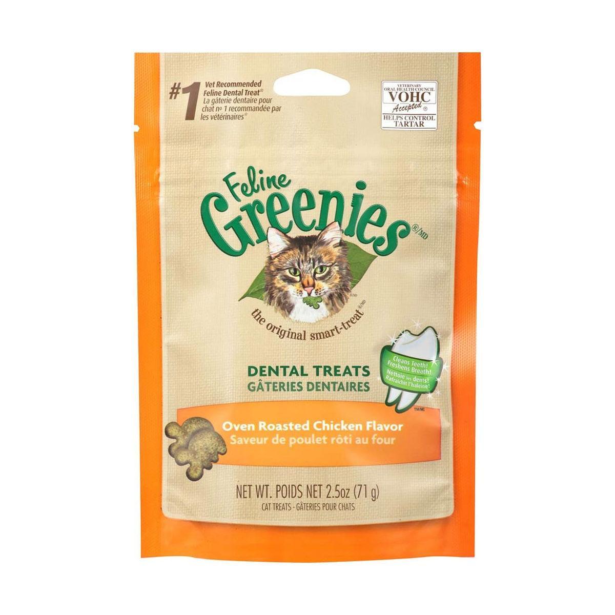 Greenies Feline Dental Cat Treats - Oven Roasted Chicken