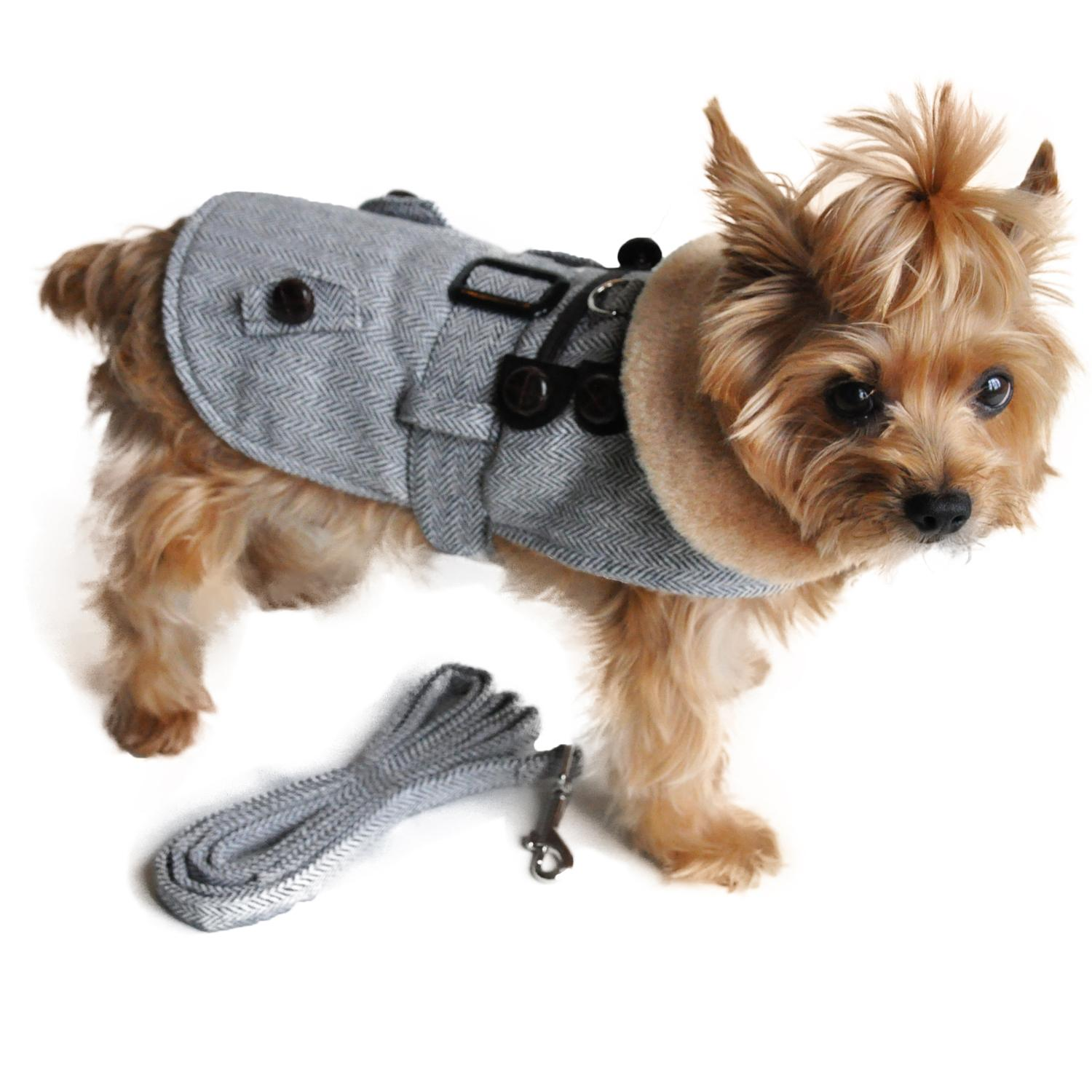 Grey Herringbone Dog Coat with Leash by Doggie Design