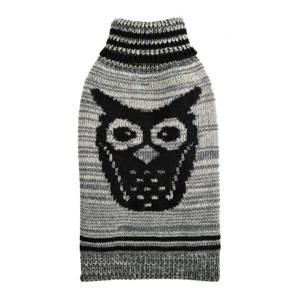 Growl Owl Dog Sweater By Hip Doggie - Grey