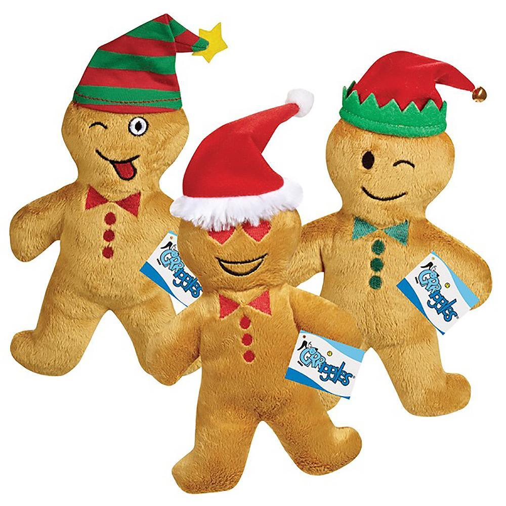 Grriggles Holiday Gingerbread Emoji Men Plush Dog Toys