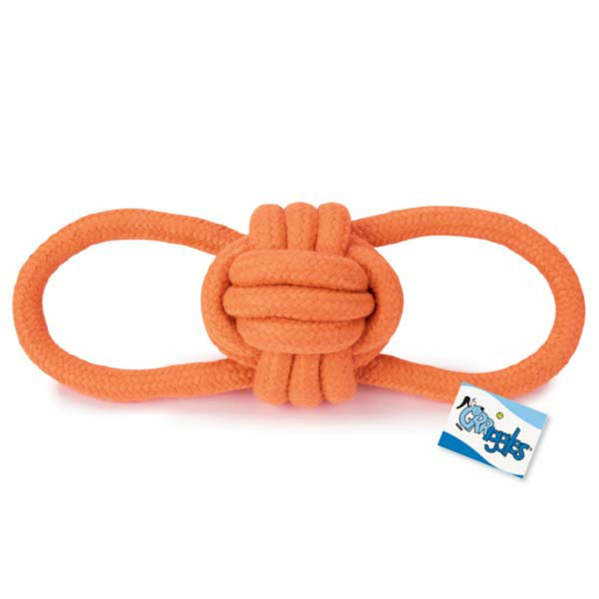 Grriggles Ruff Rope Knot Tugs Dog Toy - Orange