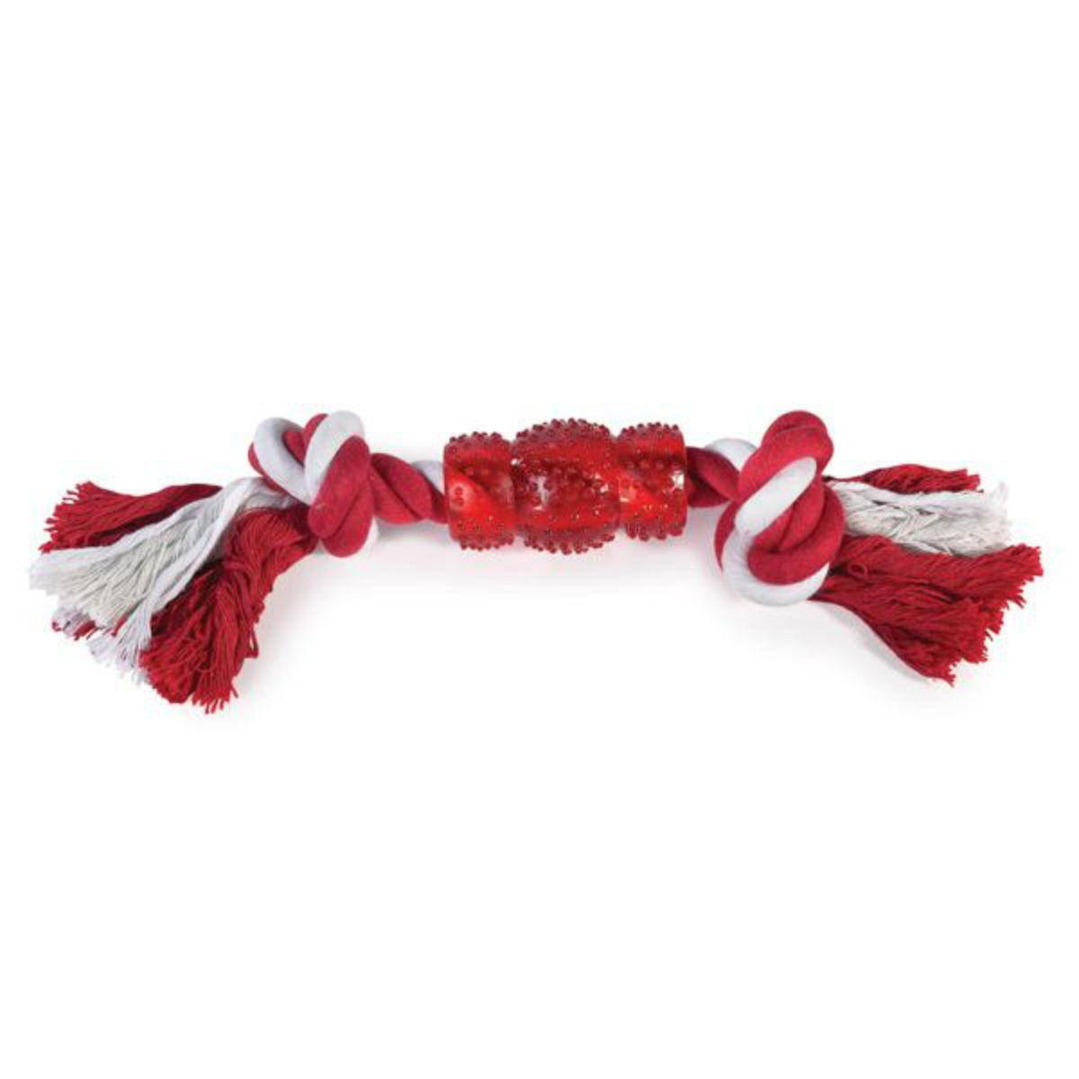 Grriggles Rope N' Rubber Bones Dog Toy - Red