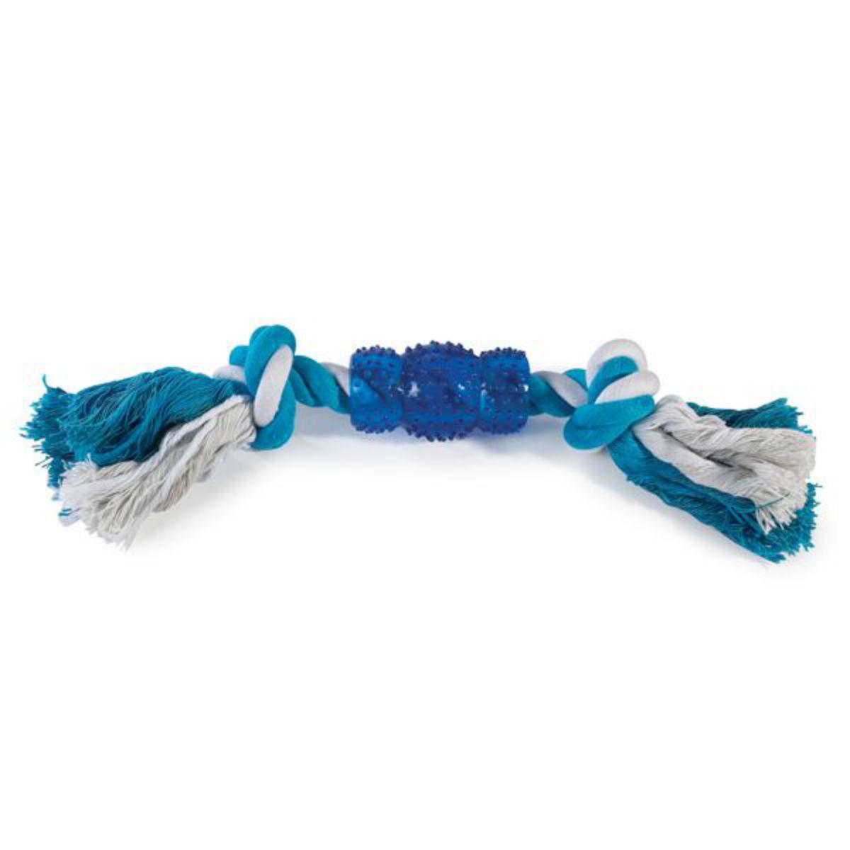 Grriggles Rope N' Rubber Bones Dog Toy - Blue