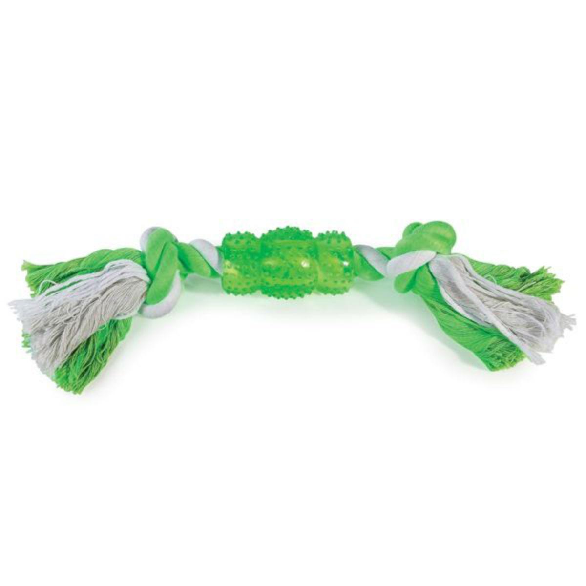 Grriggles Rope N' Rubber Bones Dog Toy - Green