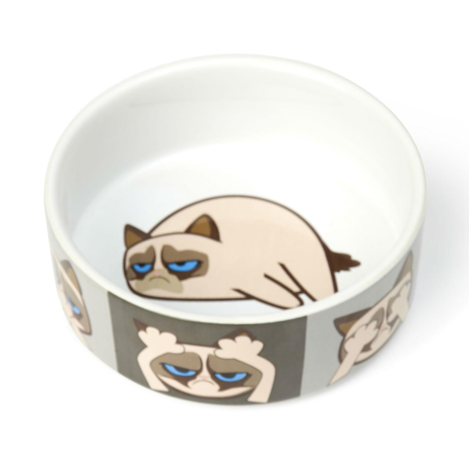 Grumpy Cat Here/See/Speak No Evil Dog Bowl