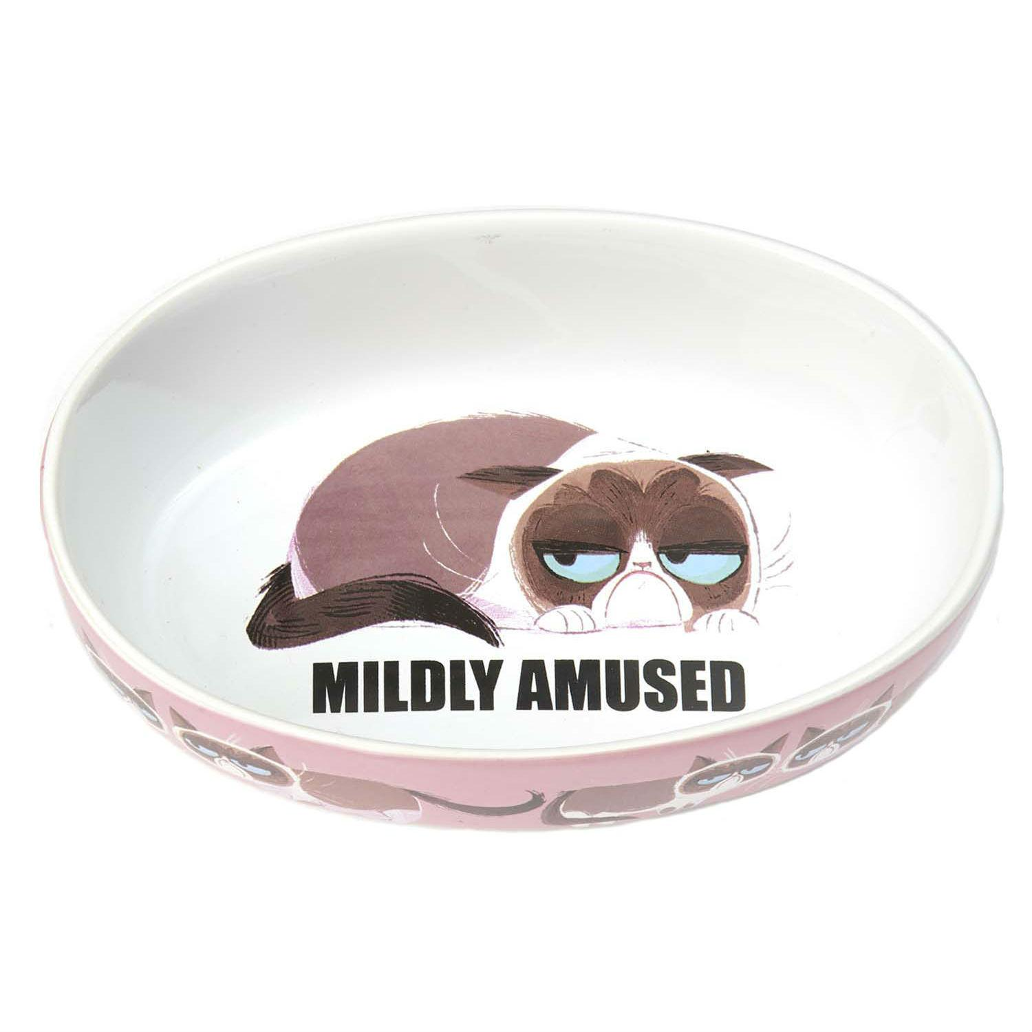 Grumpy Cat Mildly Amused Oval Cat Bowl - Pink