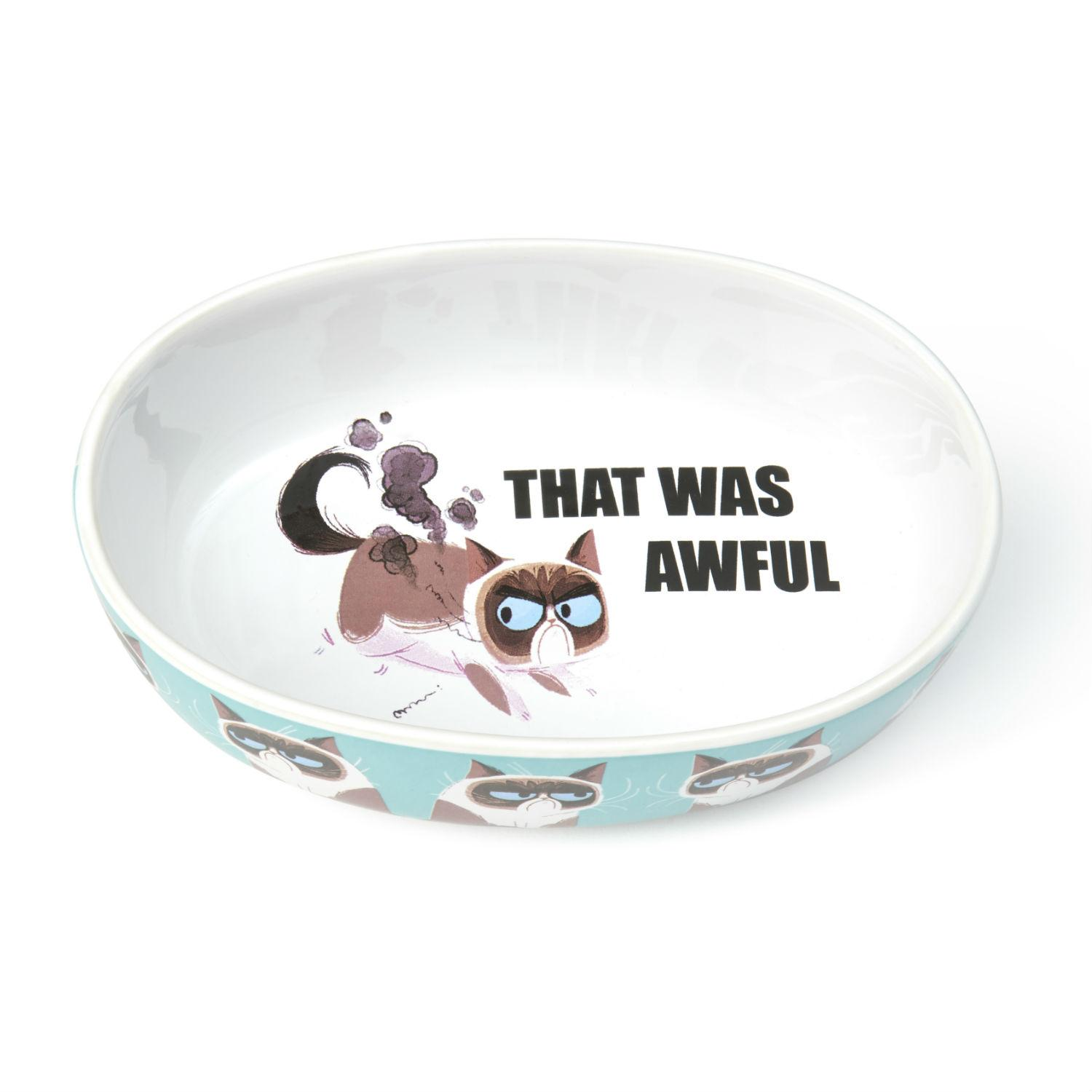 Grumpy Cat This is Awful Oval Cat Bowl - Blue