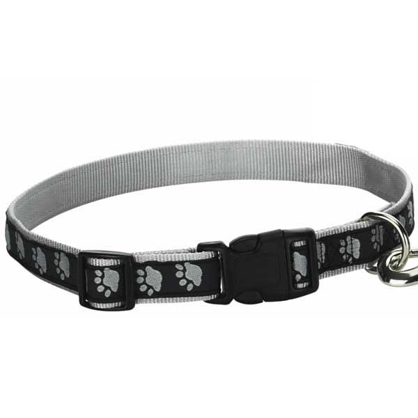 Guardian Gear Two Tone Pawprint Dog Collar - Black