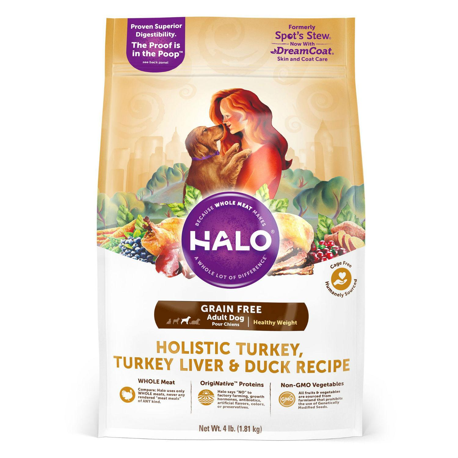 HALO Holistic Grain Free Adult Dog Food - Healthy Weight Turkey and Duck