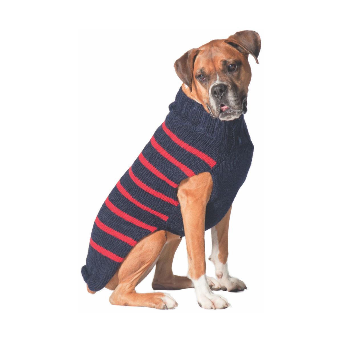 Handmade Alpaca Classic Stripe Dog Sweater - Navy and Red