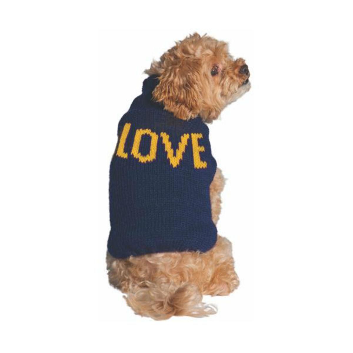Handmade Alpaca Love Dog Sweater - Navy