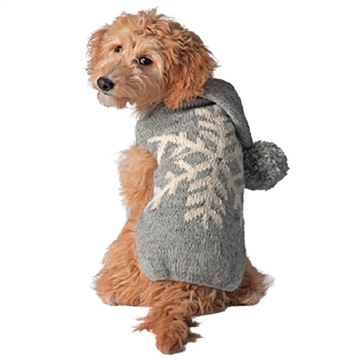 Handmade Alpaca Snowflake Dog Sweater Hoodie - Gray