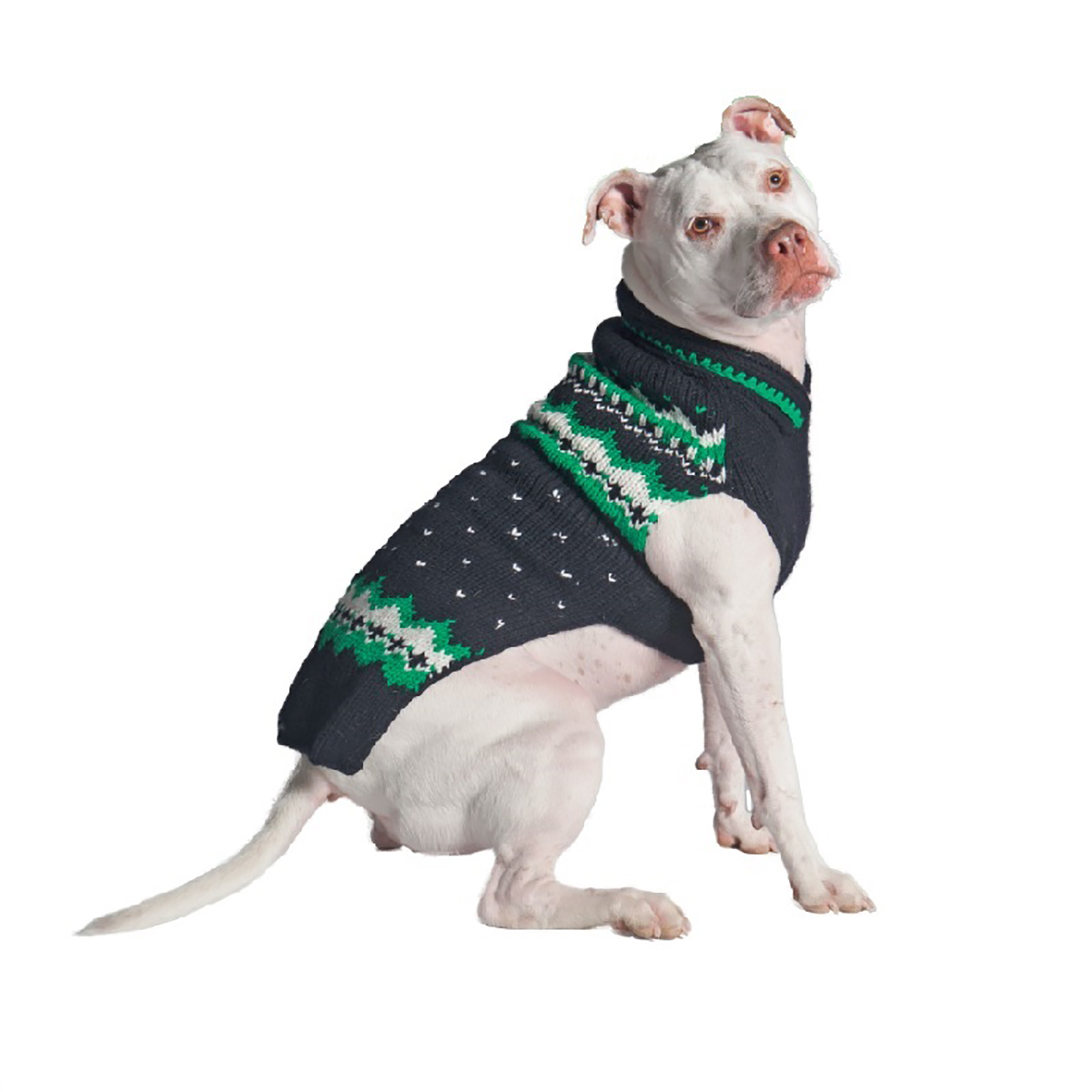 Handmade Alpine Fair Isle Wool Dog Sweater - Navy and Green with ...