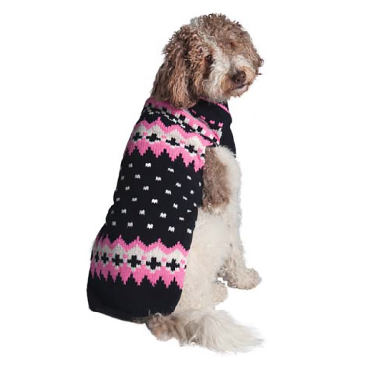 Handmade Alpine Fair Isle Wool Dog Sweater - Navy and Pink with ...