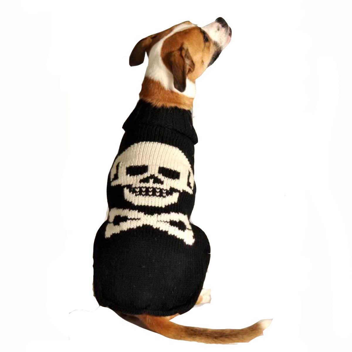 Handmade Black Skull Wool Dog Sweater