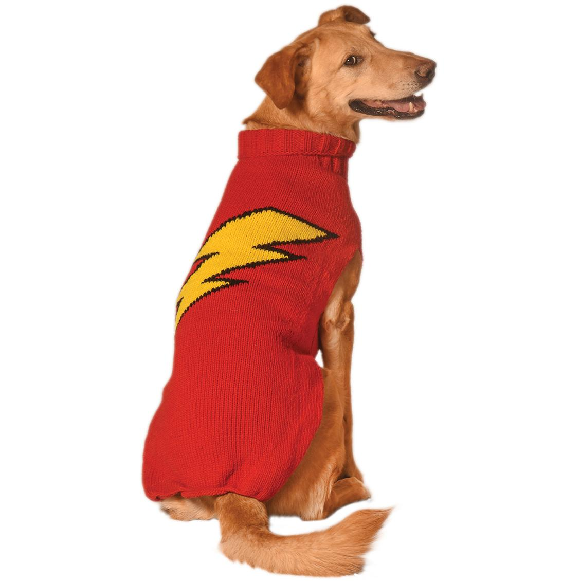 Handmade Bolt Wool Dog Sweater - Red