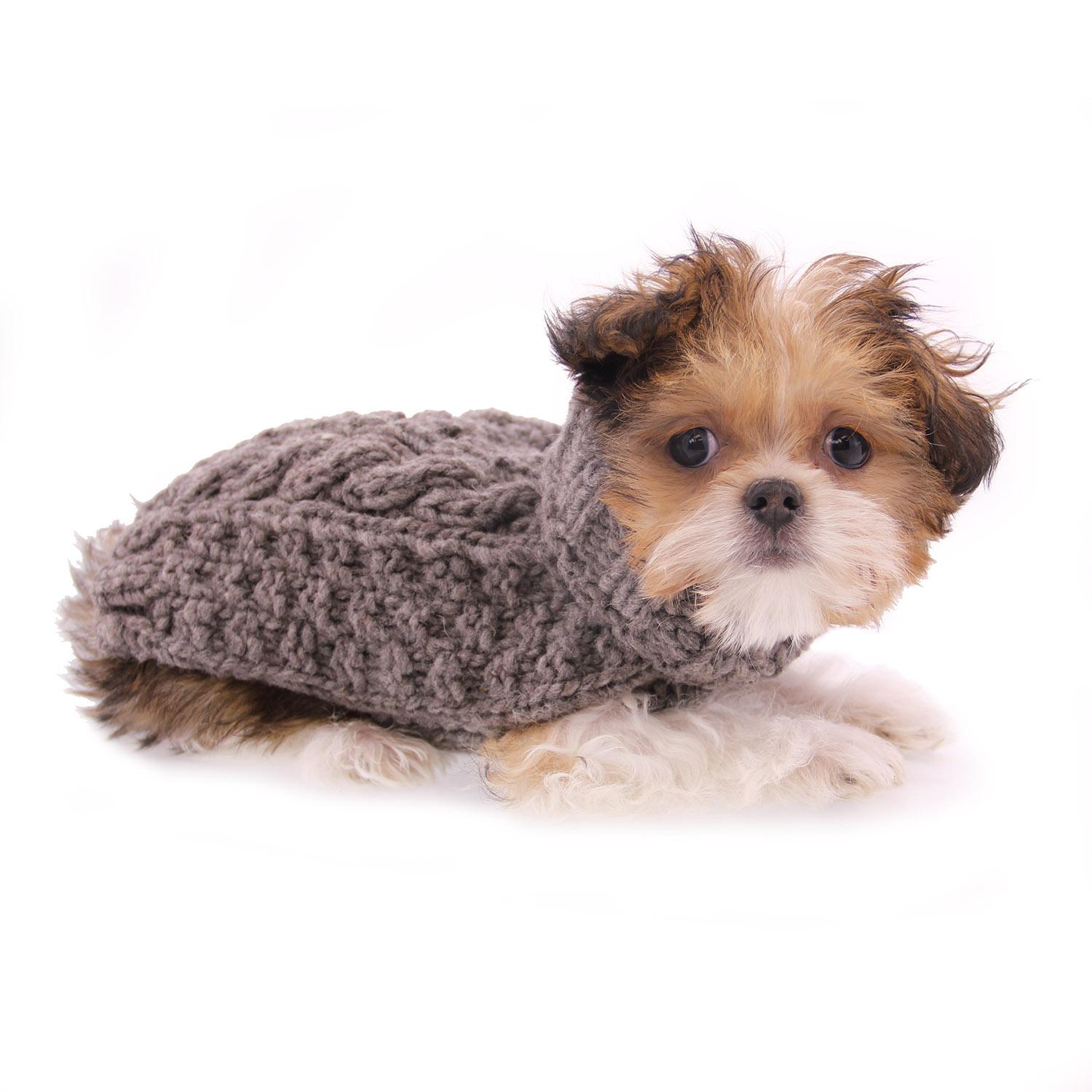 3d9cdcd09 Handmade Cable Knit Wool Dog Sweater - Gray