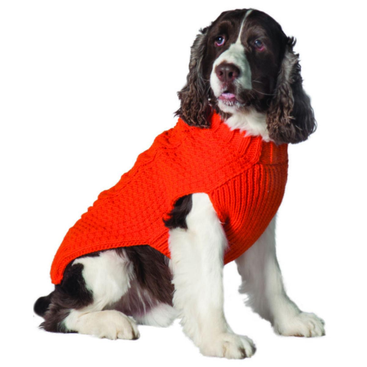 Handmade Cable Knit Wool Dog Sweater - Orange