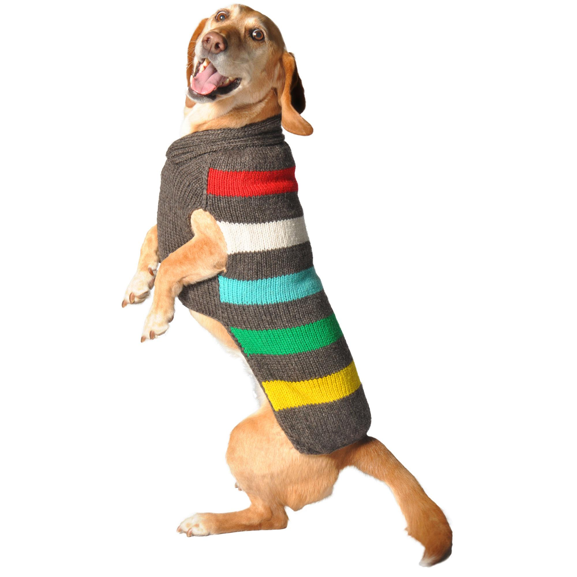 Handmade Charcoal Stripe Wool Dog Sweater
