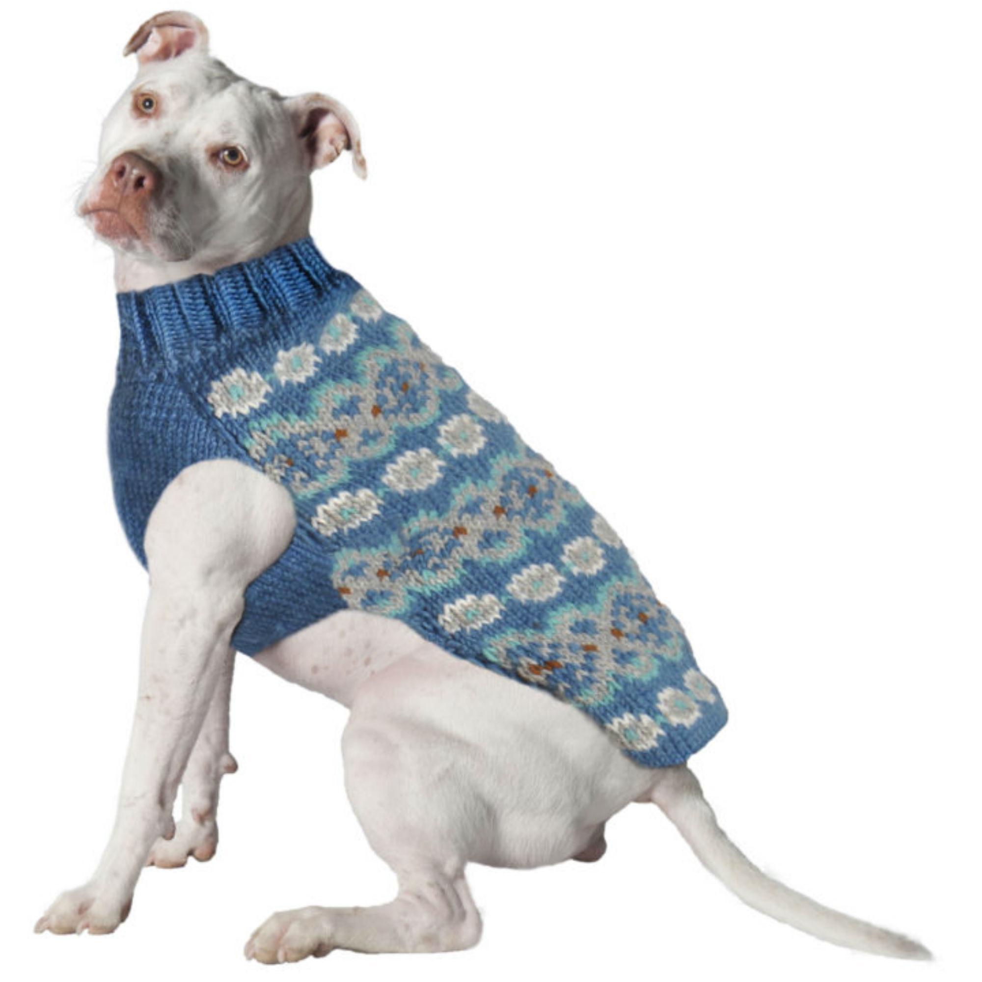 Handmade Alpaca Fairisle Wool Dog Sweater - Teal