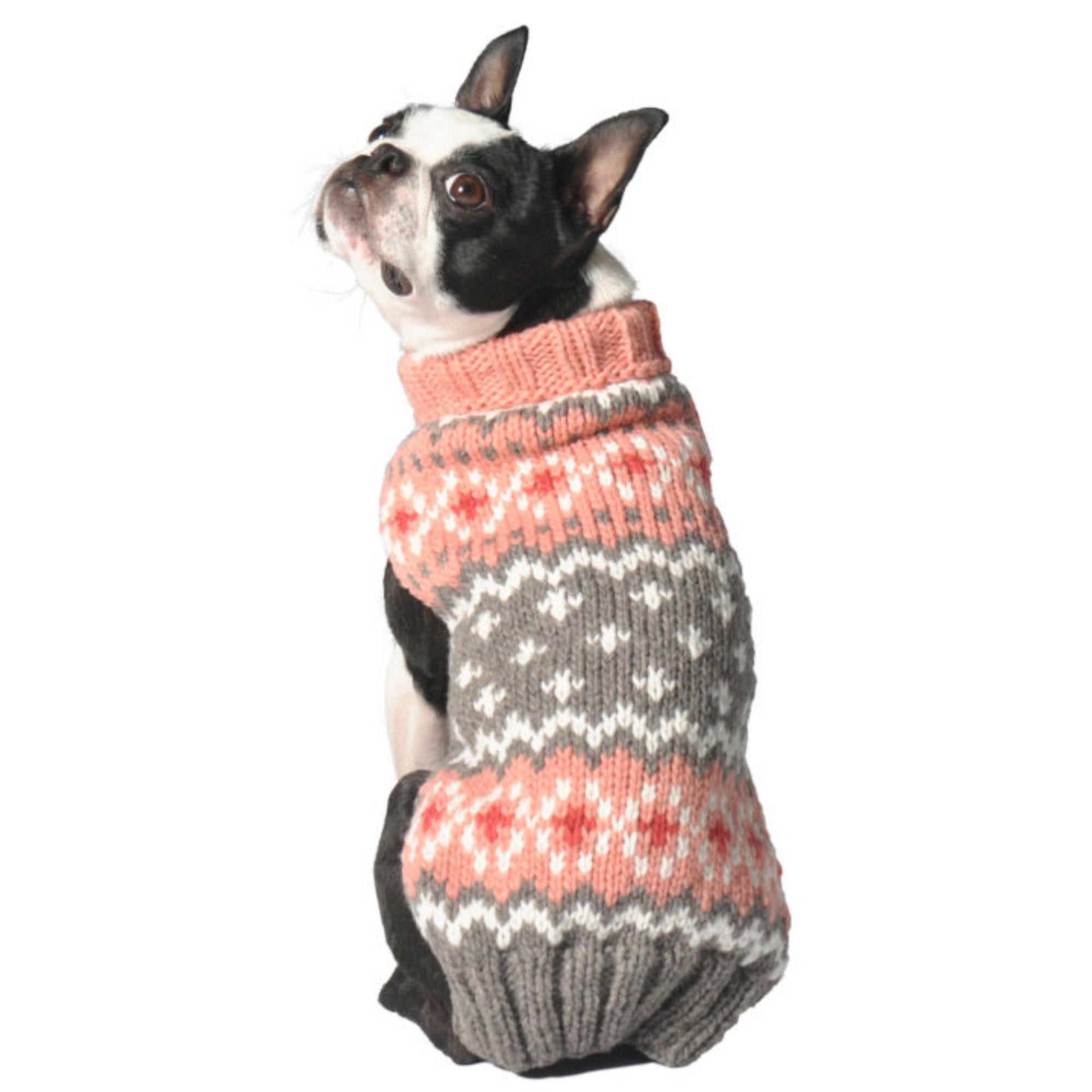 Handmade Fairisle Wool Dog Sweater - Peach