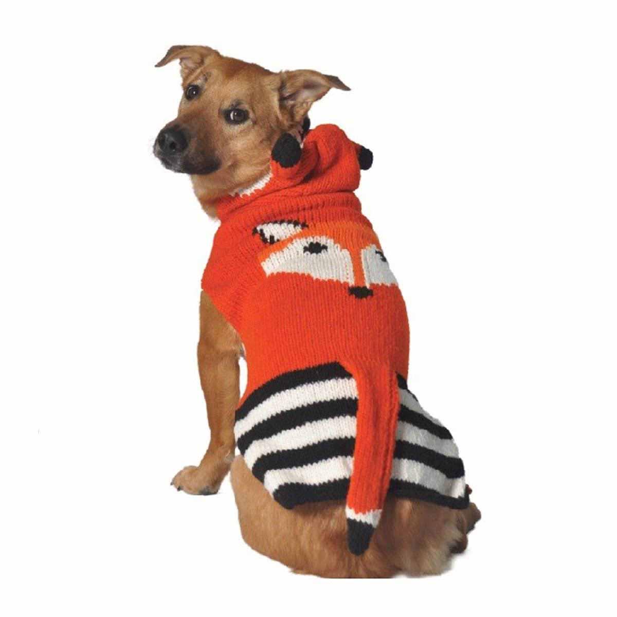 Handmade Foxy Hooded Wool Dog Sweater