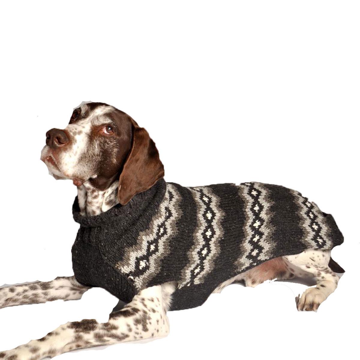 Handmade Nordic Diamond Wool Dog Sweater - Gray