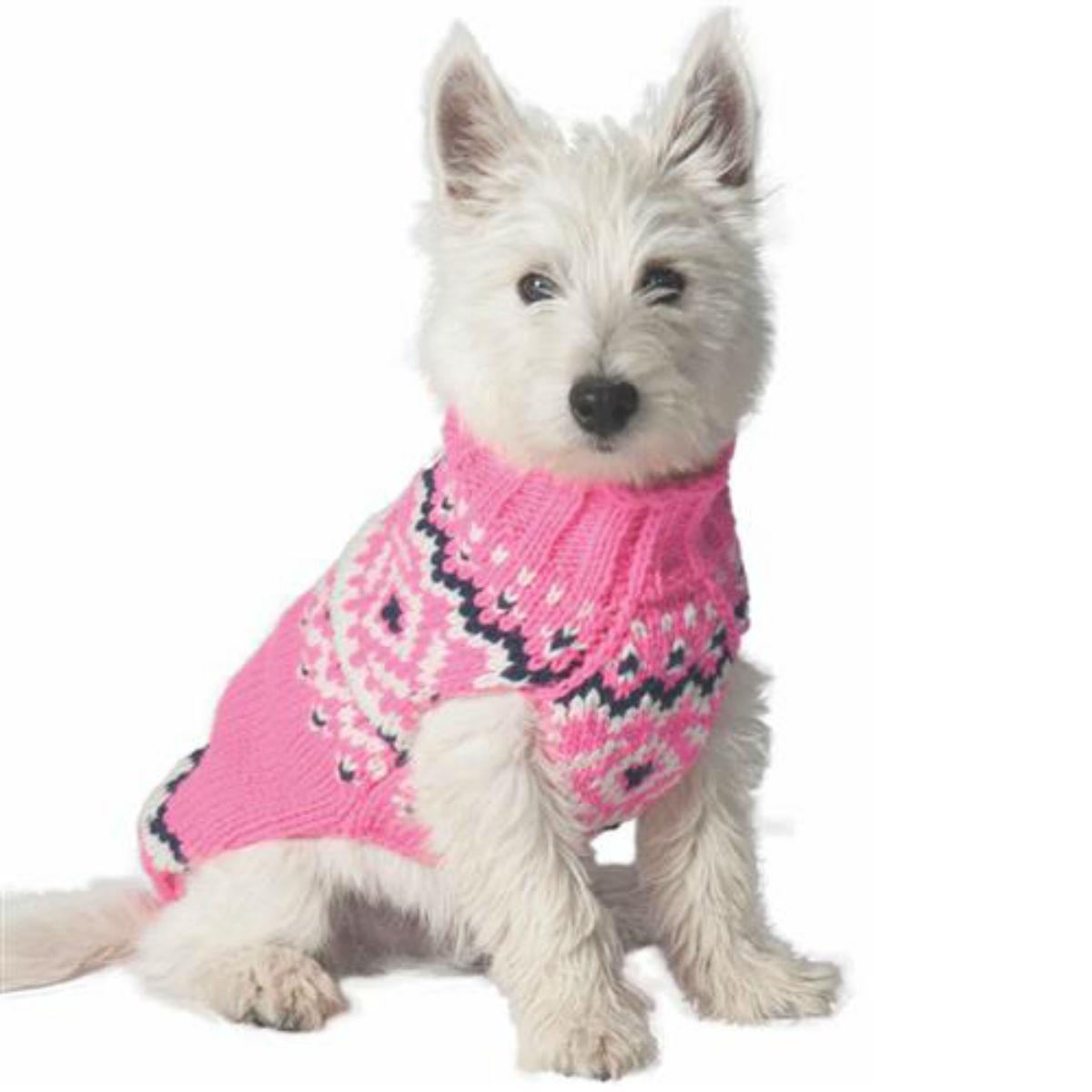 Handmade Nordic Wool Dog Sweater - Pink