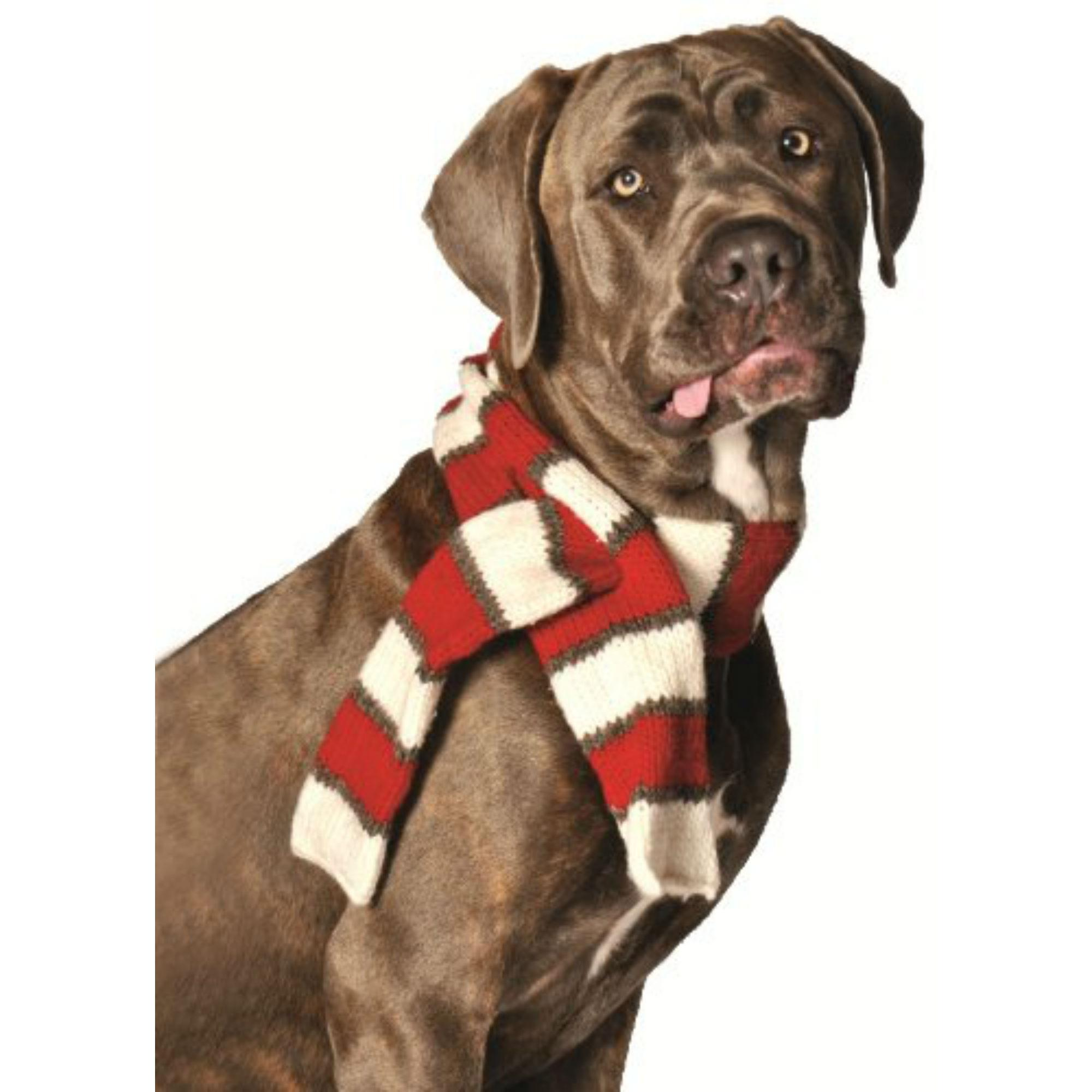 Handmade Red/White Wool Dog Scarf