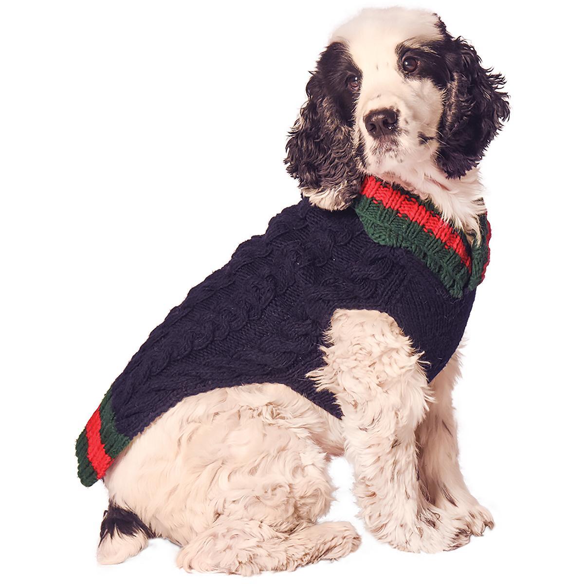 Handmade Varsity Wool Dog Sweater - Navy