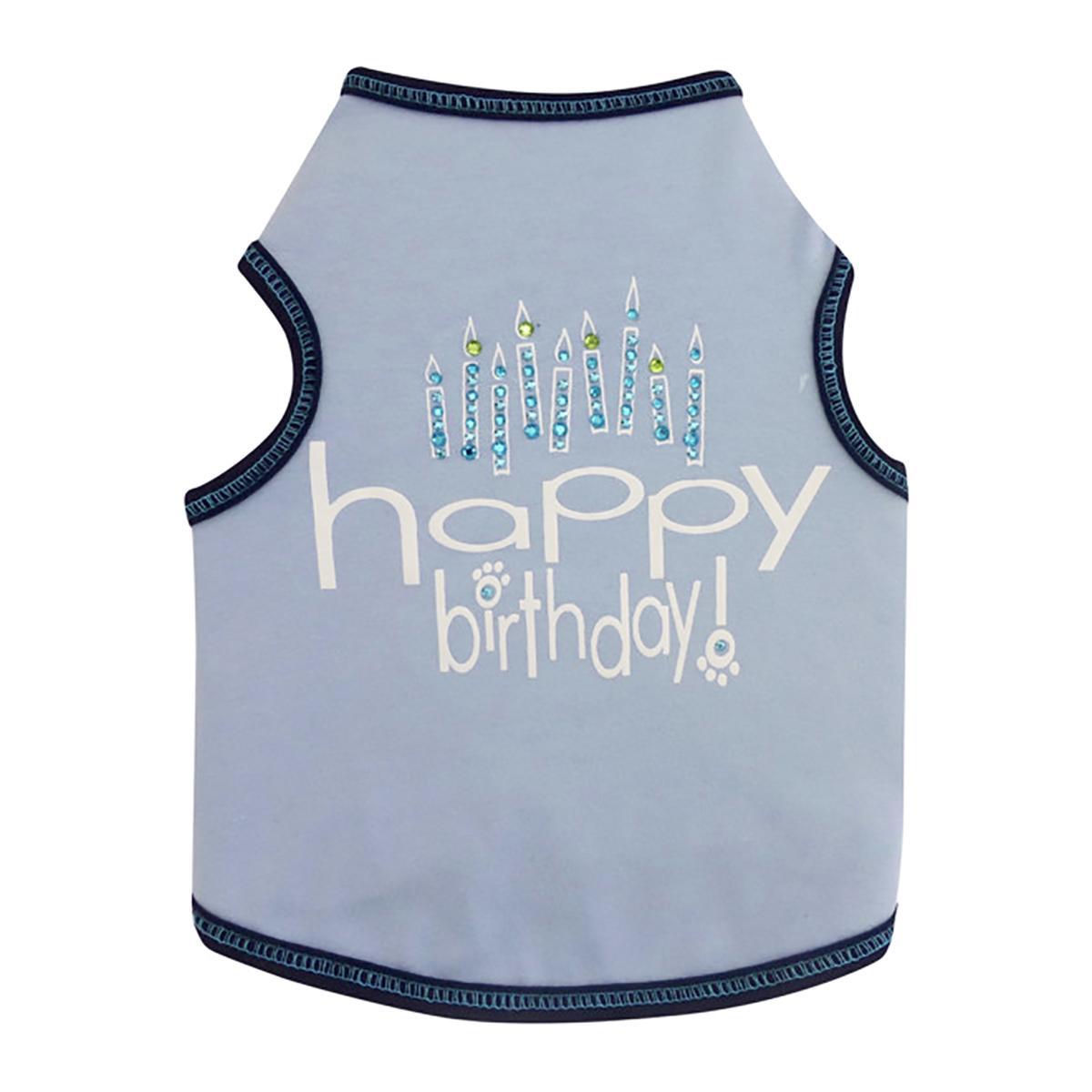 Happy Birthday Dog Tank - Sky Blue