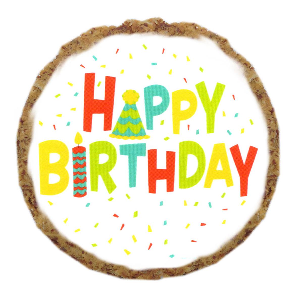 Happy Birthday Dog Treat Cookie - White