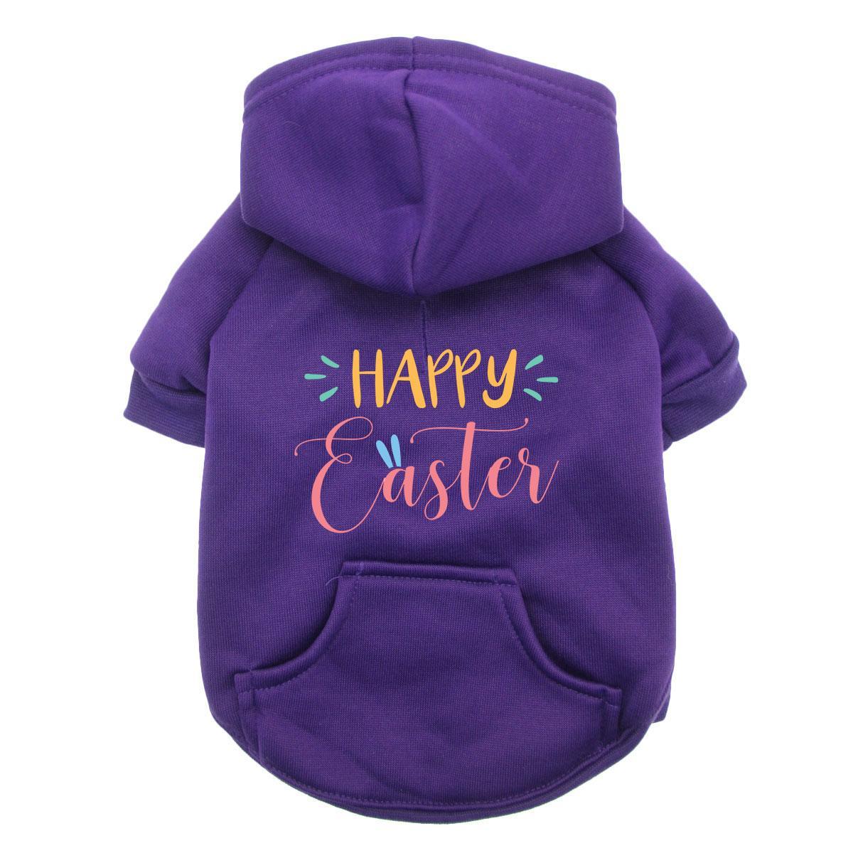 Happy Easter Dog Hoodie - Purple