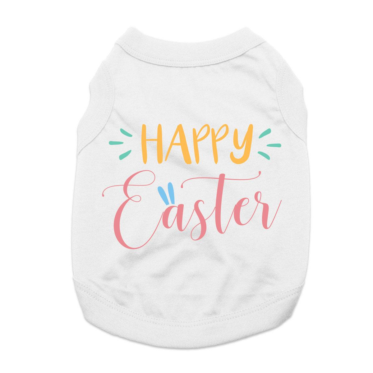 Happy Easter Dog Shirt - White