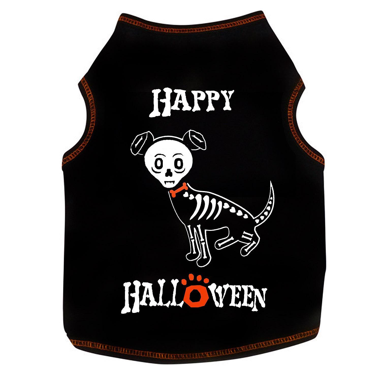 Happy Halloween Skeleton Dog Tank - Black