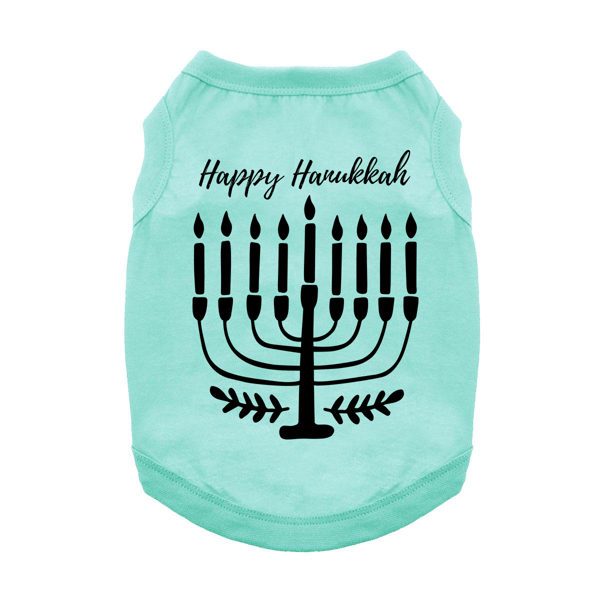Happy Hanukkah Dog Shirt - Aqua