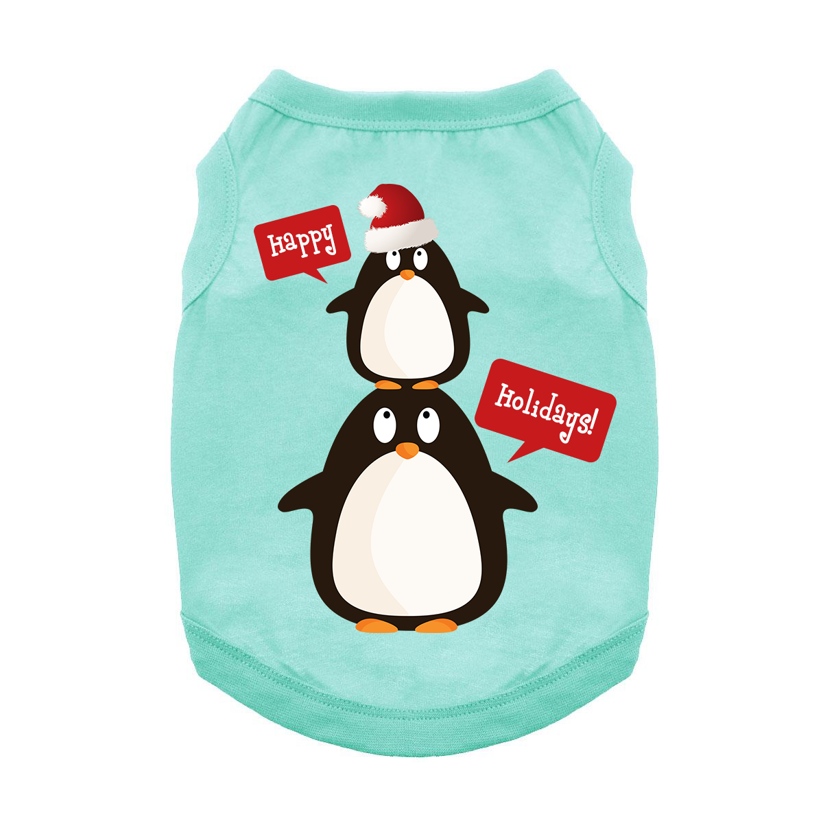 Happy Holidays Penguins Dog Tank - Teal