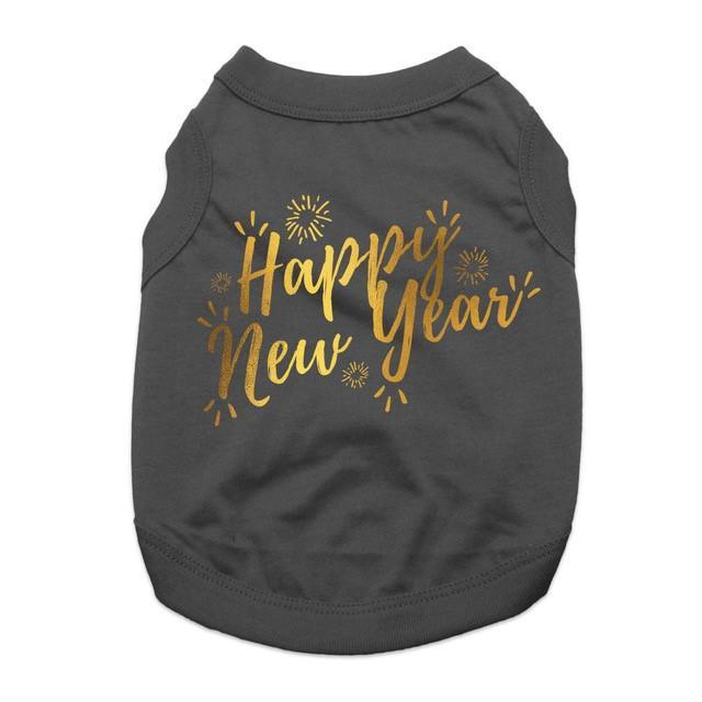 Happy New Year Dog Tank - Black