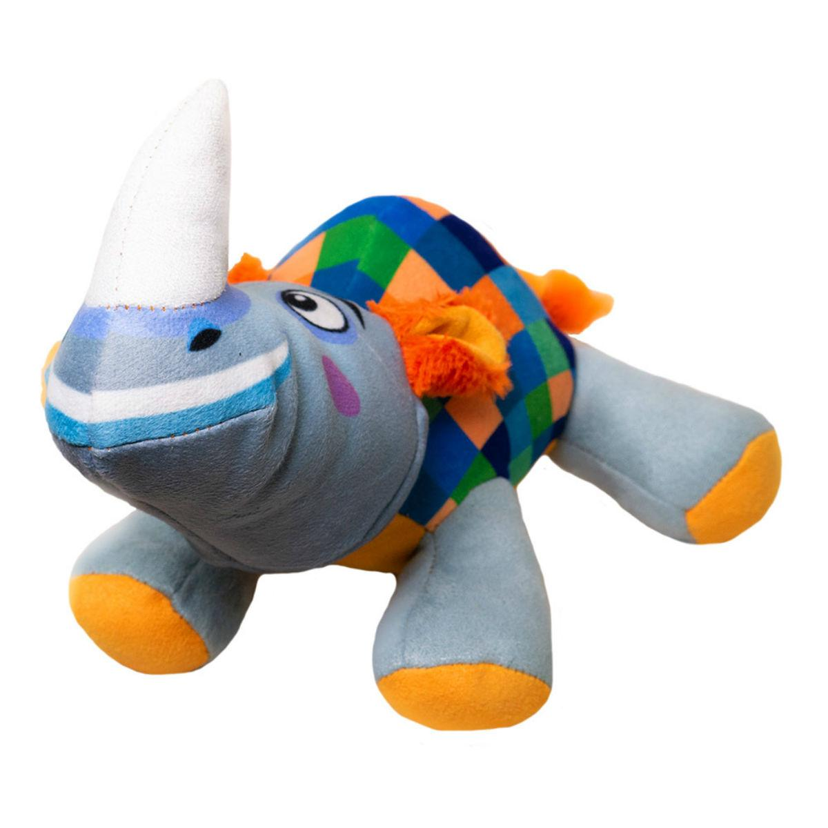 Happy Tails Doodles Dog Toy - Checkered Rhino