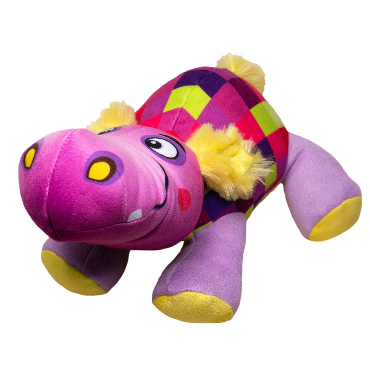 Happy Tails Doodles Dog Toy - Checkered Hippo