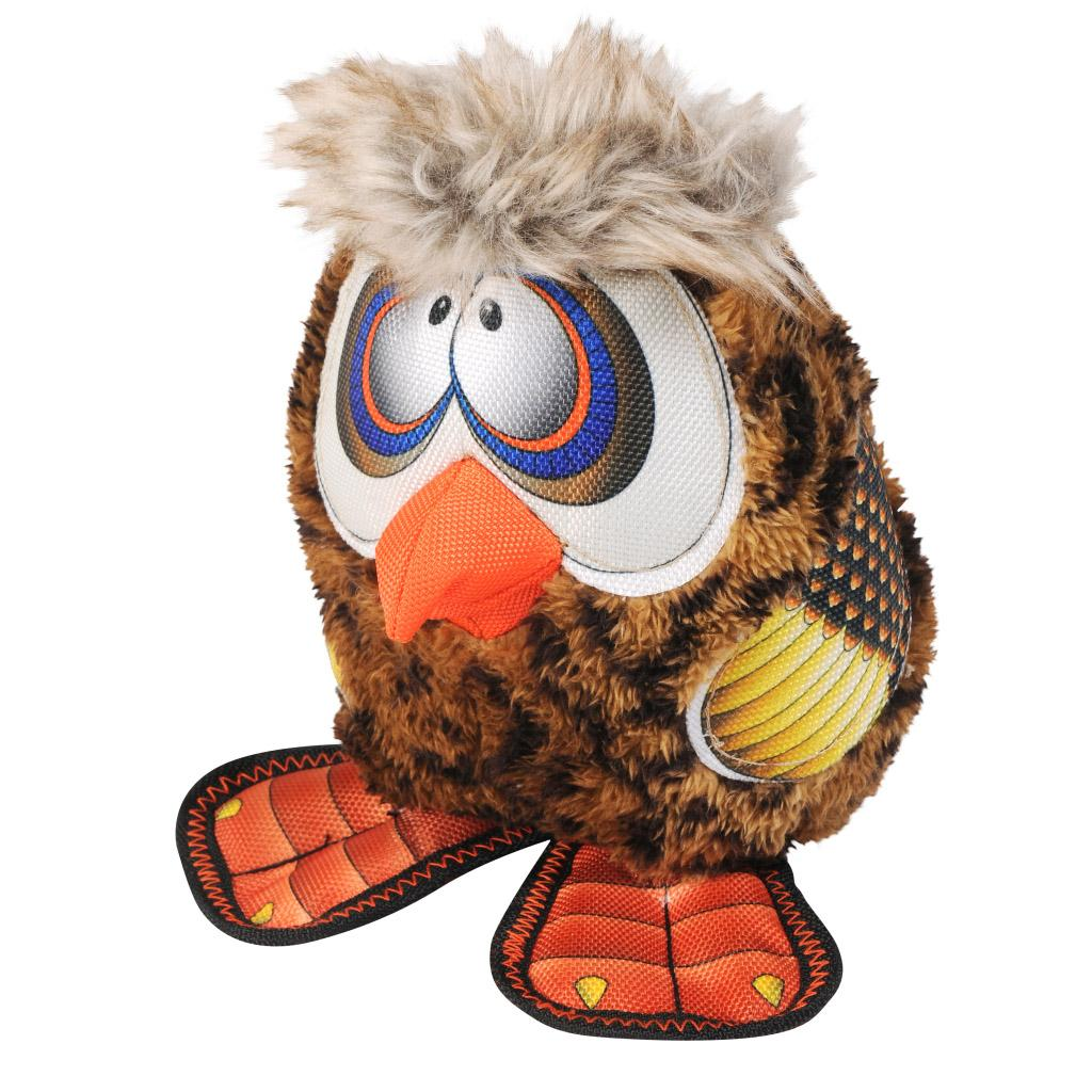 Happy Tails Loonies Durable Dog Toy - Zany Owl