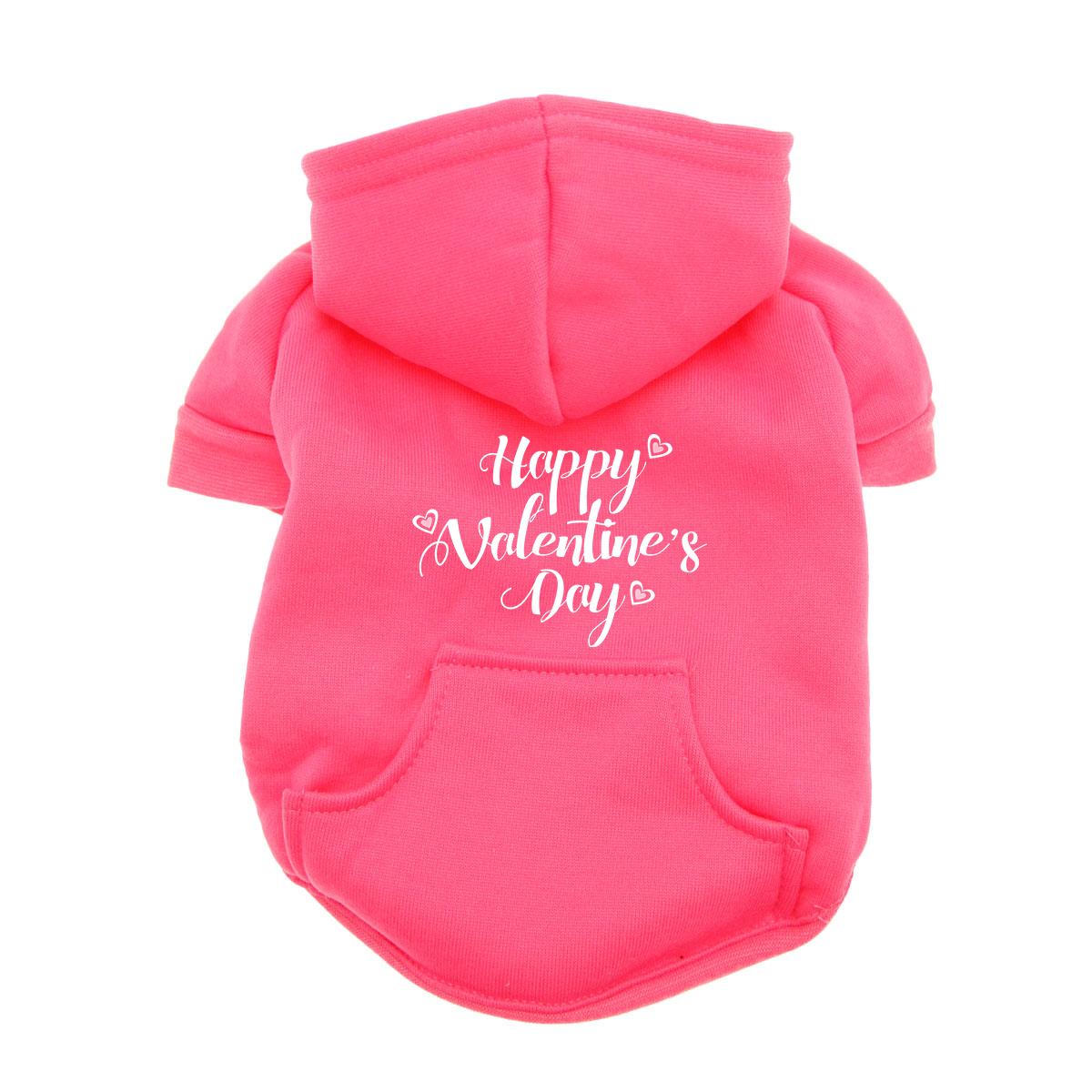 Happy Valentine's Day Dog Hoodie - Pink
